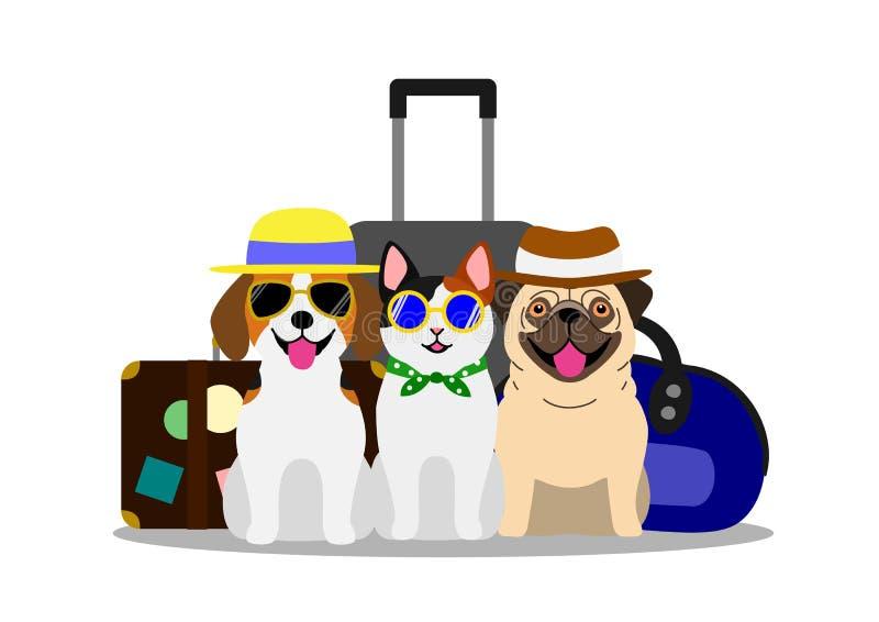 Cani e gatti in viaggio illustrazione di stock