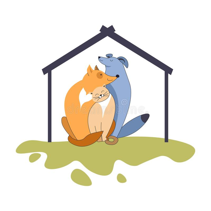 Cani ed animali domestici e canile amichevoli del gatto sull'icona isolata prato inglese royalty illustrazione gratis