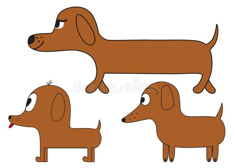 Cani svegli del bassotto tedesco del fumetto illustrazione vettoriale