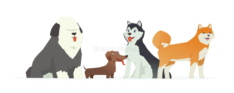Cani svegli - illustrazione moderna dei personaggi dei cartoni animati di vettore royalty illustrazione gratis