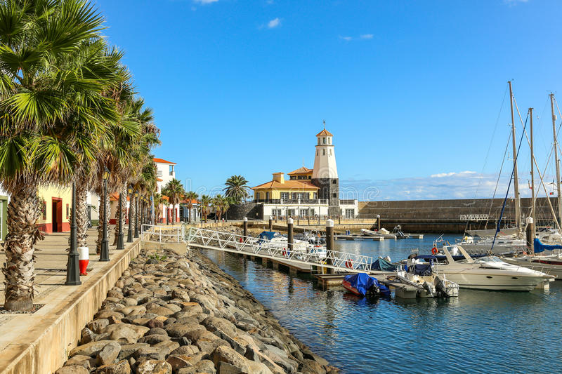 Canical Madeira. Marina with boats and palm trees in the town of Canical, Madeira royalty free stock images