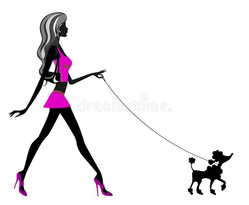 Caniche de passeio da mulher ilustração royalty free