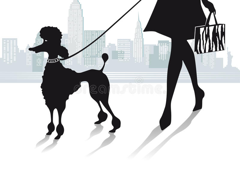 Mulher na cidade com caniche ilustração do vetor