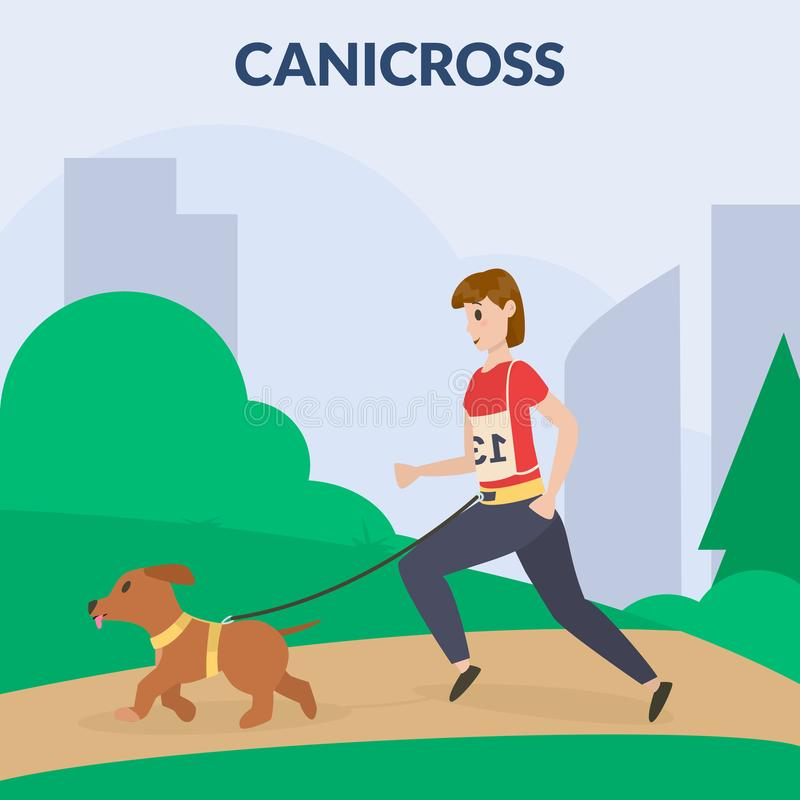Canicross de chien Un chien de formation de femme Cynology Vecteur plat illustration stock