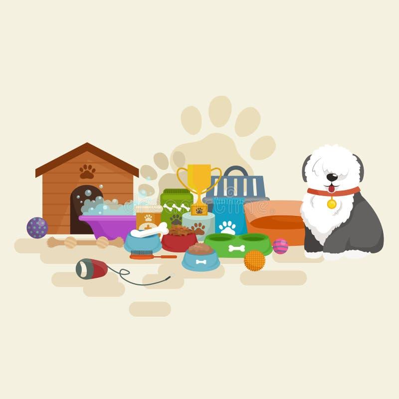 Canil feliz do cão, casa com osso e bacia de alimento ilustração do vetor