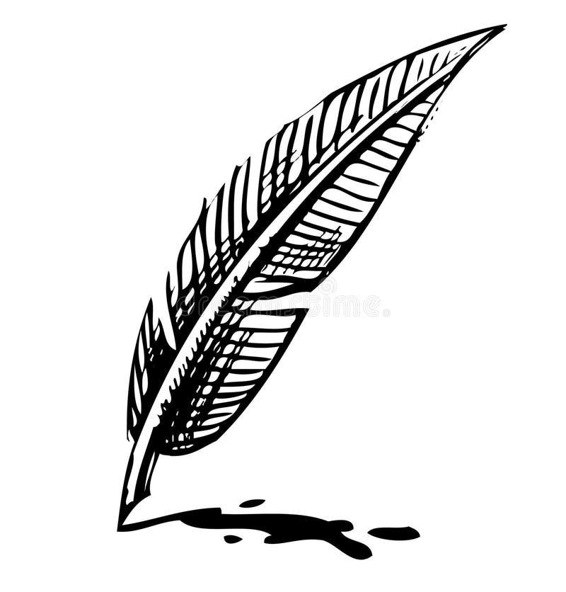 Canilla de la escritura con la mancha blanca /negra de la tinta libre illustration