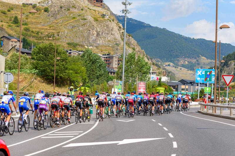 Cyclist during stage 10  of La Vuelta 2019 in Canillo, Andorra. Canillo, Andorra - September 1, 2019: Cyclist during stage 10  of La Vuelta 2019 in Canillo royalty free stock images