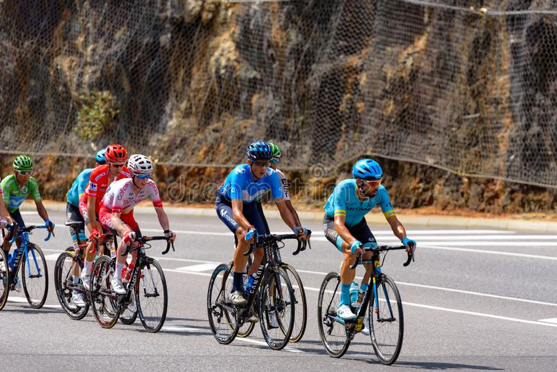 Cyclist during stage 10  of La Vuelta 2019 in Canillo, Andorra. Canillo, Andorra - September 1, 2019: Cyclist during stage 10  of La Vuelta 2019 in Canillo stock photos