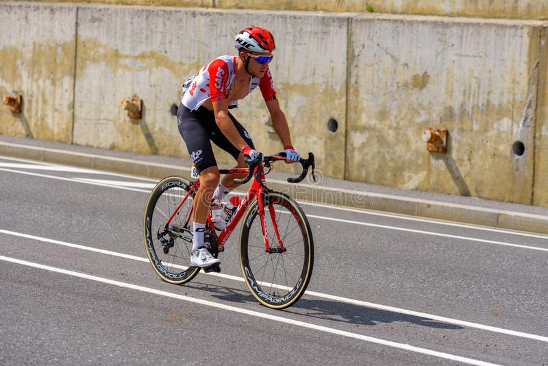 Cyclist during stage 10  of La Vuelta 2019 in Canillo, Andorra. Canillo, Andorra - September 1, 2019: Cyclist during stage 10  of La Vuelta 2019 in Canillo stock photo