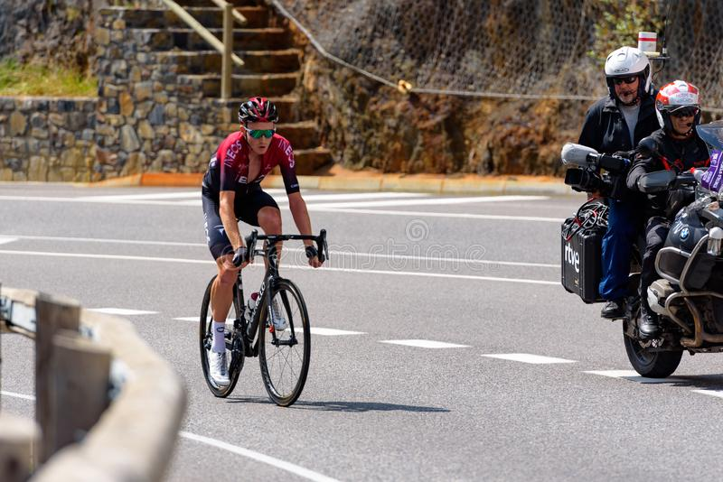 Cyclist during stage 10  of La Vuelta 2019 in Canillo, Andorra. Canillo, Andorra - September 1, 2019: Cyclist during stage 10  of La Vuelta 2019 in Canillo royalty free stock image