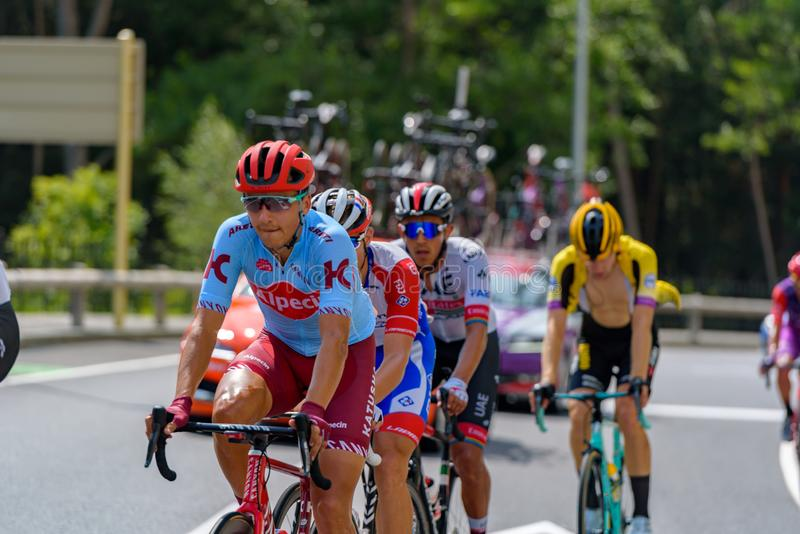 Cyclist during stage 10  of La Vuelta 2019 in Canillo, Andorra. Canillo, Andorra - September 1, 2019: Cyclist during stage 10  of La Vuelta 2019 in Canillo royalty free stock photo