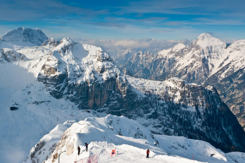 Canin and Montasio. View over mount Bilapec, Canin and Montasio mountains, Sella Nevea, Friuli, Italy royalty free stock photography
