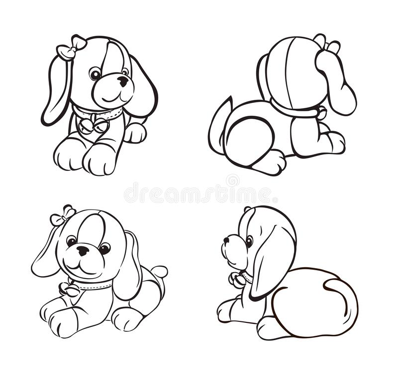 Canino bonito do esboço dos ângulos diferentes ilustração stock