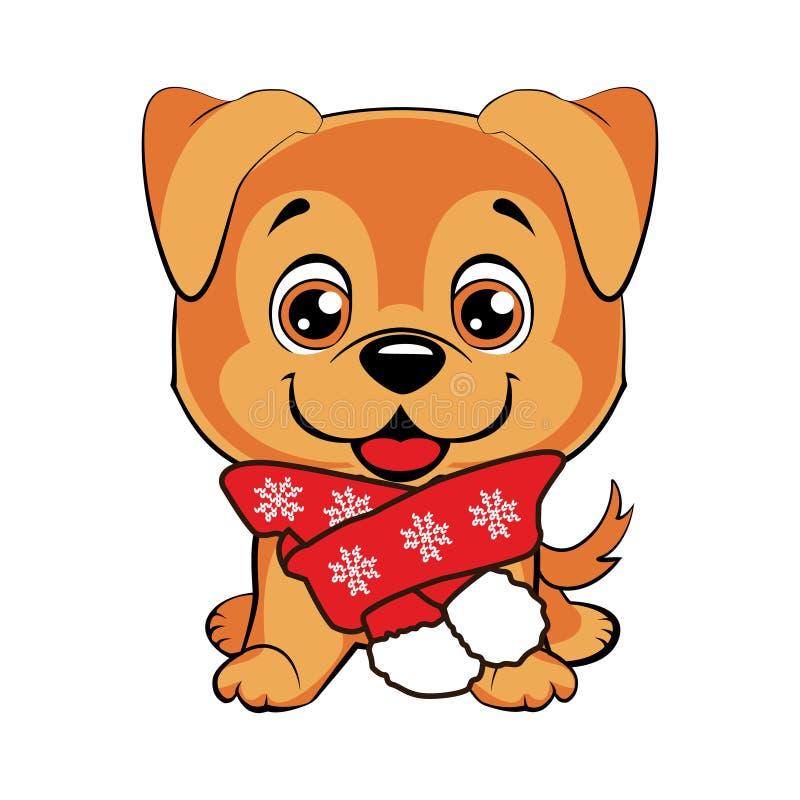 Canino con la sciarpa Fumetto felice del cane royalty illustrazione gratis