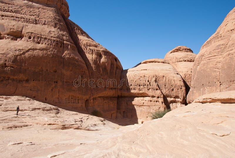 Canion in archeologische plaats Madain Saleh Saudi Arabia stock foto's