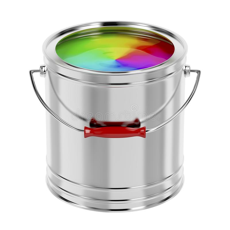 Multicolor paint. Canister with multicolor paint isolated on white background royalty free illustration