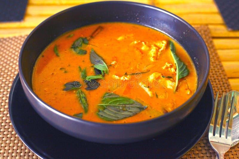 Canja de galinha picante asiática do caril vermelho fotos de stock