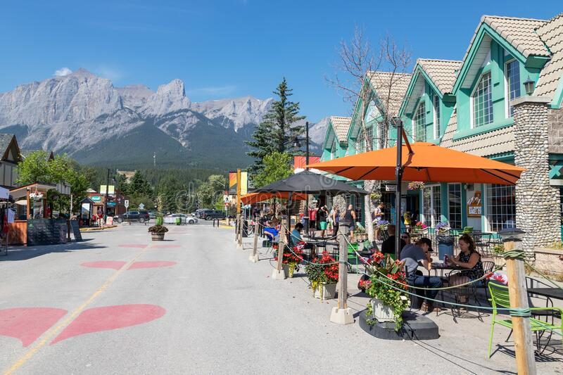 Canmore Downtown Closed During COVID-19 Pandemic in the Canadian Rockies stock images