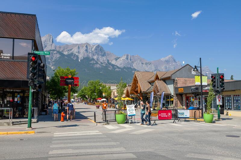 Canmore Downtown Closed During COVID-19 Pandemic in the Canadian Rockies royalty free stock photography
