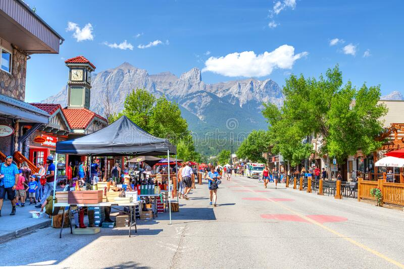 Canmore Downtown Closed During COVID-19 Pandemic in the Canadian Rockies royalty free stock images