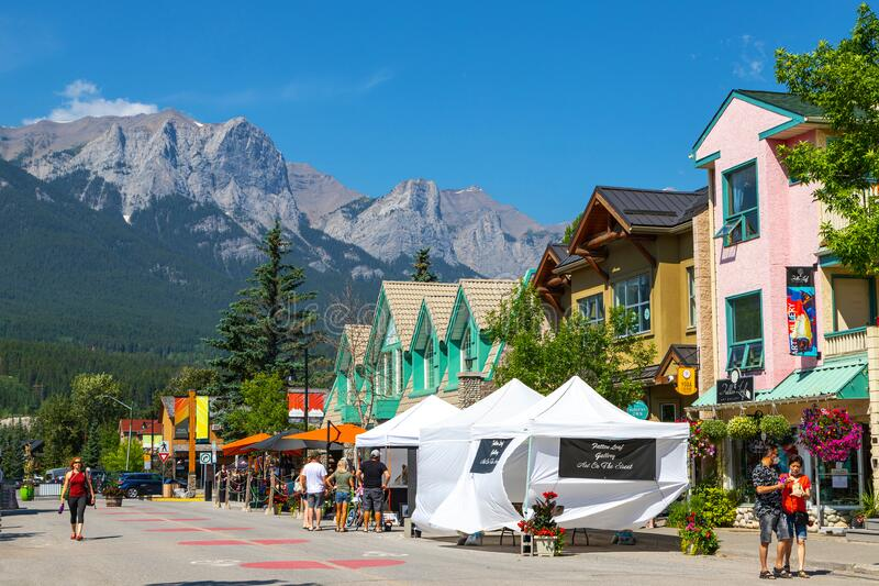Canmore Downtown Closed During COVID-19 Pandemic in the Canadian Rockies stock photos