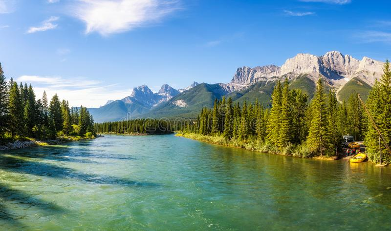 Rafting on the Bow River near Canmore in Canada. Canmore, Canada - June 26, 2017 : Rafting on the Bow River in Banff National Park near Canmore in the Summer royalty free stock photography