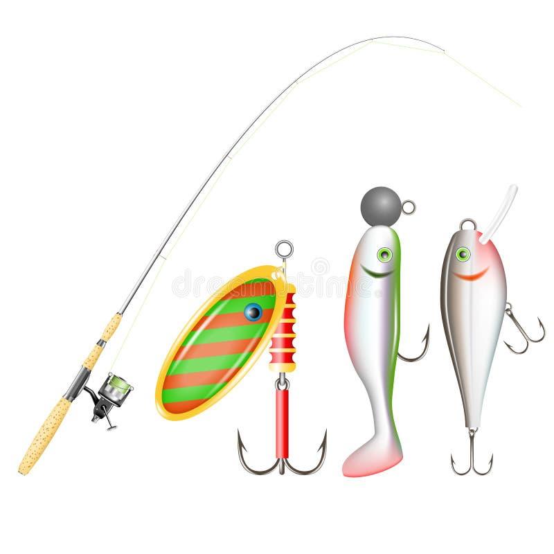Canna da pesca, bobina e richiami. illustrazione di stock