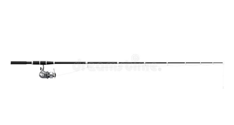 Canna da pesca che fila sul fondo bianco rappresentazione 3d illustrazione vettoriale