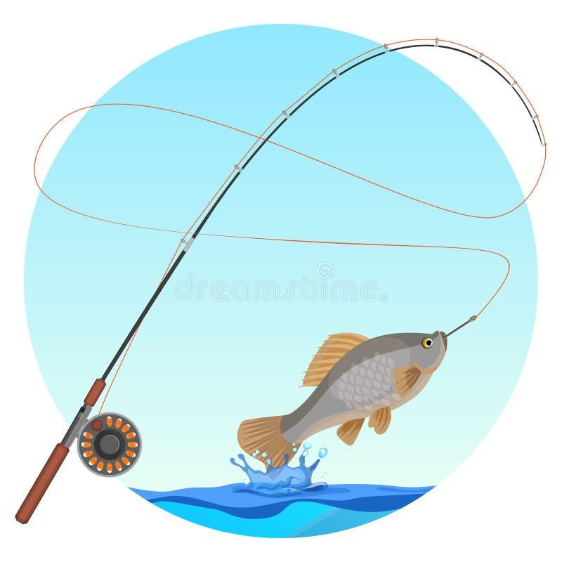 Canna da pesca con il pesce pescato sull'illustrazione di vettore del gancio illustrazione di stock
