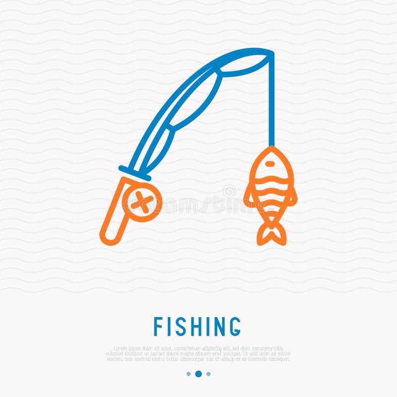 Canna da pesca con il pesce sulla linea sottile icona del gancio illustrazione di stock