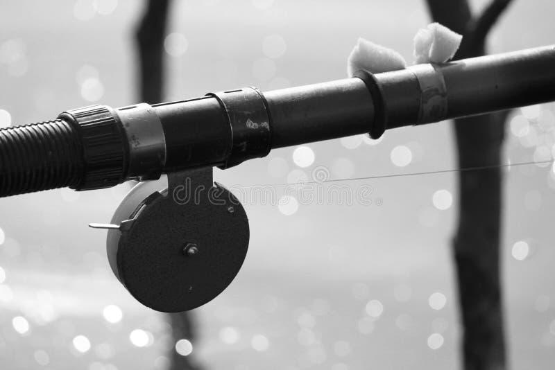 Canna da pesca con un primo piano della bobina, foto in bianco e nero fotografia stock libera da diritti