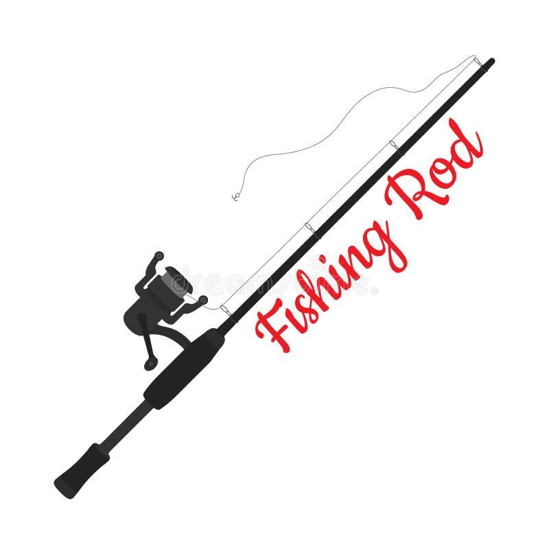 Canna da pesca del fumetto di vettore, filante con il gancio illustrazione di stock