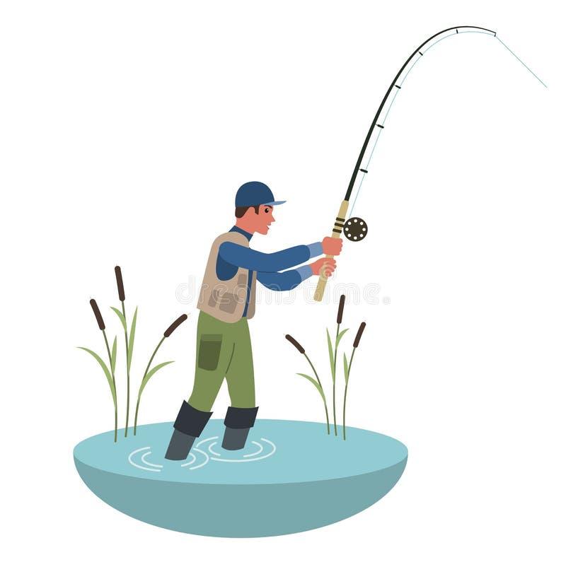 Canna da pesca della tenuta del pescatore Illustrazione variopinta del fumetto di stile piano illustrazione vettoriale