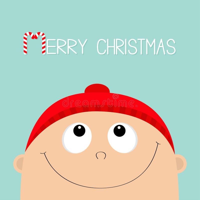 Canna di caramella di Buon Natale Cercare del fronte del bambino Neonato che porta cappello e sciarpa rossi Personaggio dei carto illustrazione di stock