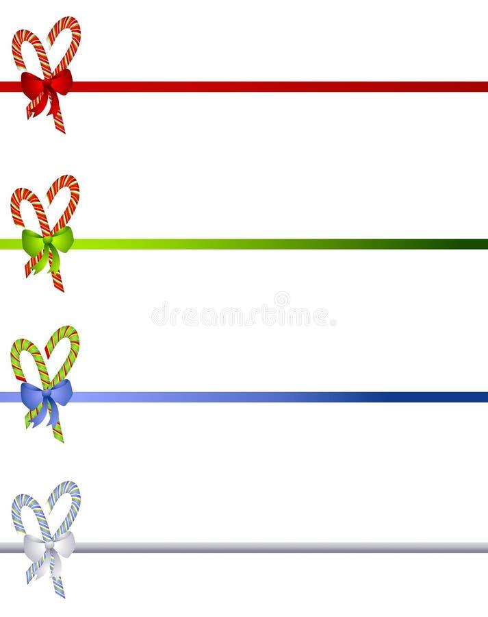 Canna di caramella e bordi degli archi illustrazione di stock