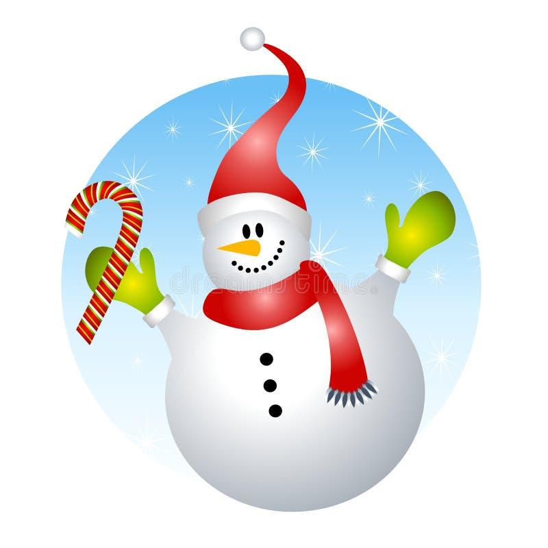 Canna di caramella sorridente del pupazzo di neve illustrazione di stock