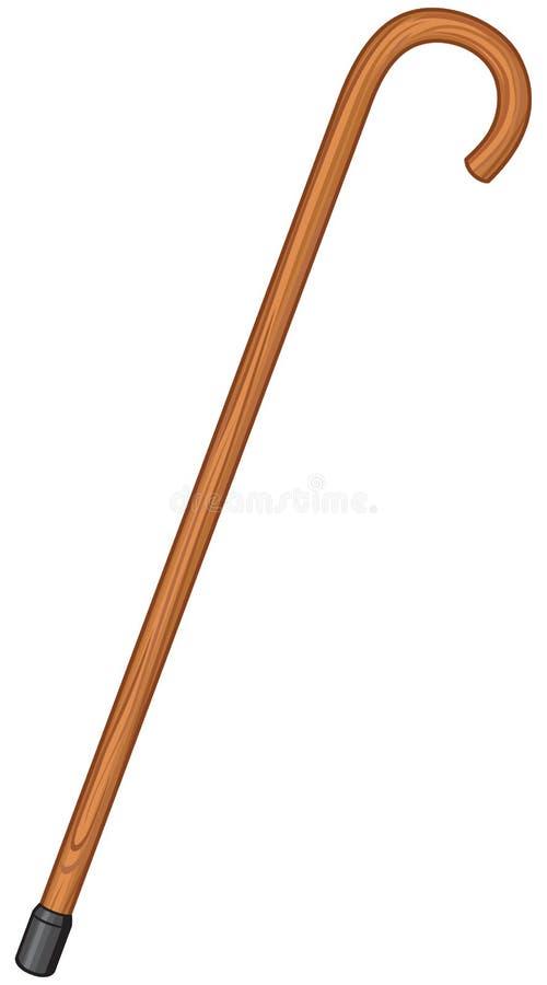 Canna di legno del bastone da passeggio illustrazione di stock