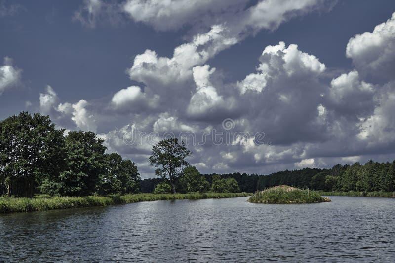 Canna piccola dell'isola su un lago fotografie stock libere da diritti