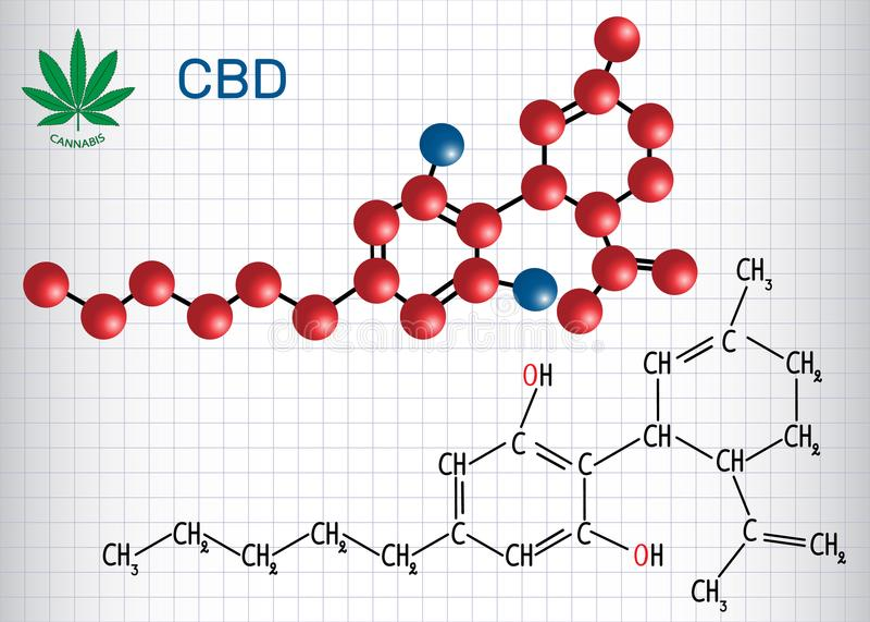 Cannabidiol CBD - strukturell kemisk formel och molekyl royaltyfri bild