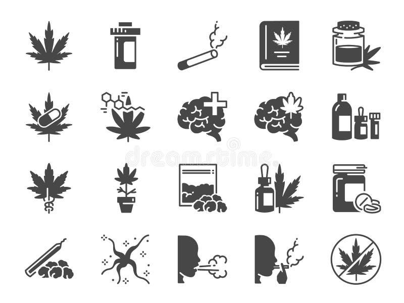 Cannabidiol fast symbolsuppsättning Inklusive symboler som CBD, cannabis, behandling, ogr?s, tobak och mer stock illustrationer