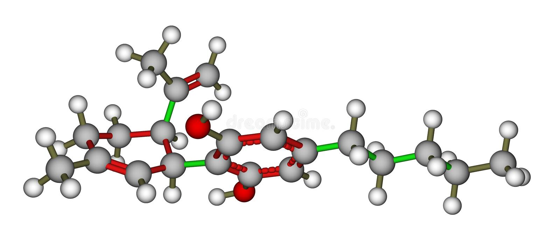 Cannabidiol molecular model. Optimized molecular model of Cannabidiol, the constituent of the cannabis plant stock illustration