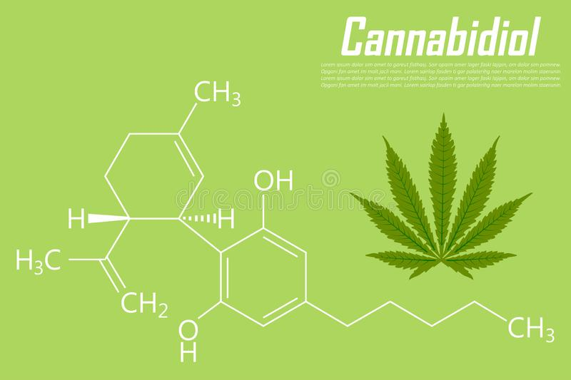 Cannabidiol molecule formula background with marijuana icon stock illustration