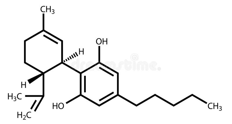 Cannabidiol structural formula royalty free illustration