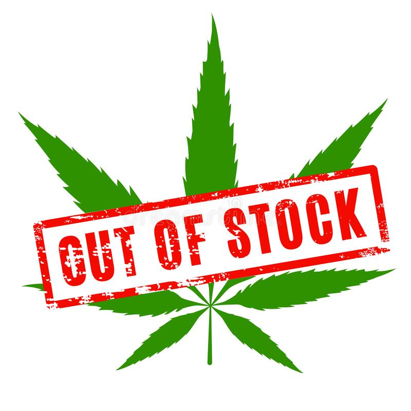 Free Cannabis As Out Of Stock. Green Pot Sicon With Red Stockout Rubber Seal. Stock Images - 130128114