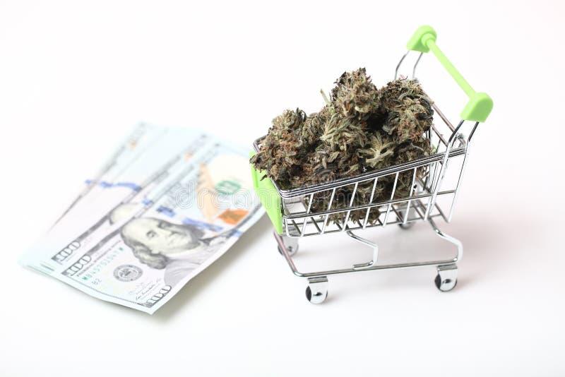 Cannabis bedrijfshennepconcept Medisch Marihuana en Geld stock foto