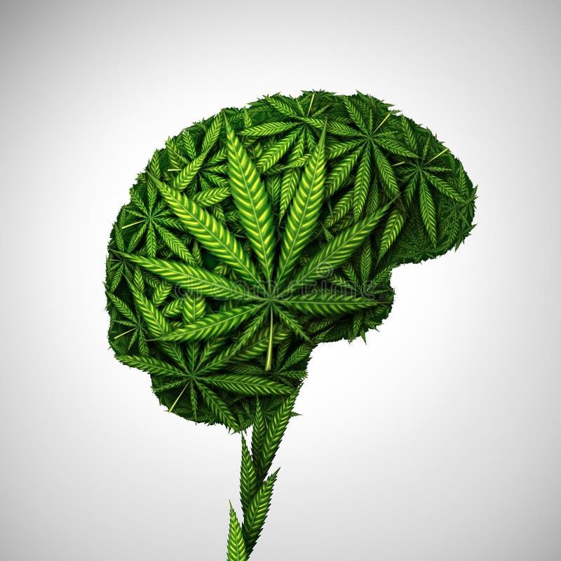 Cannabis Brain Medical Effects stock illustration