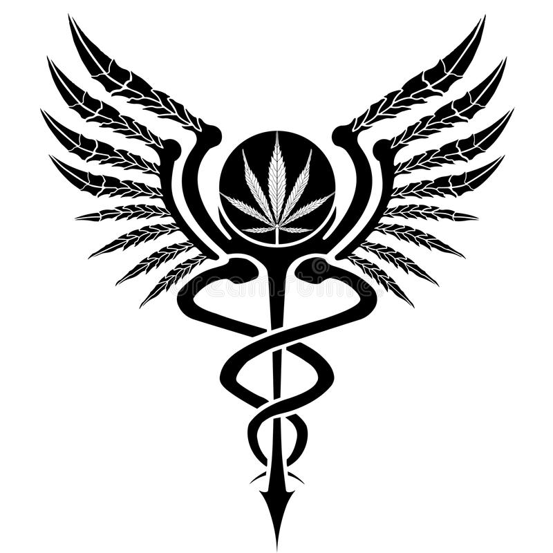 Cannabis Caduceus stock illustration