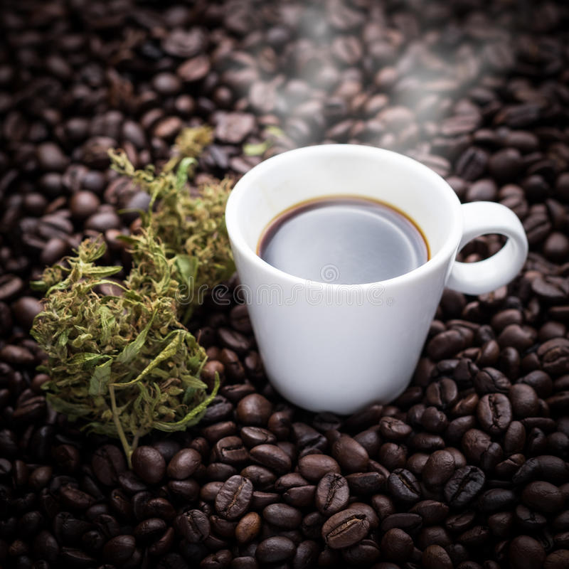 Cannabis coffee cup royalty free stock photos