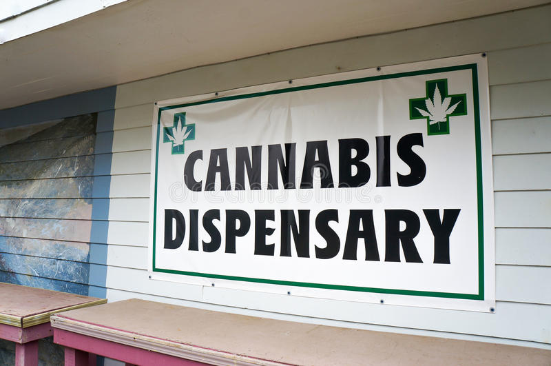 Cannabis dispensary sign. Waldport, Oregon, USA stock images
