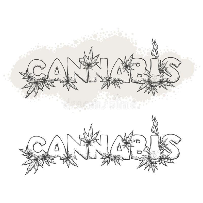 Cannabis e Bong Black ilustração do vetor